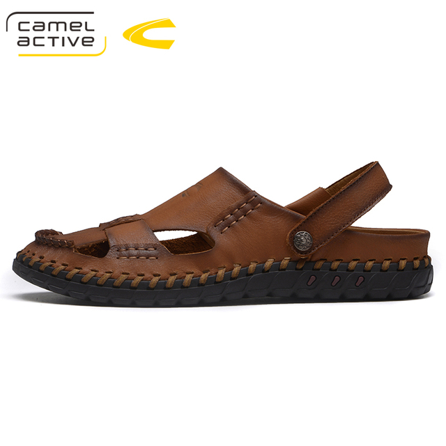 8284ac305f28 Camel Active Comfortable Handmade Men Sandals Genuine Leather Soft Summer  Male Shoes Retro Sewing Casual Beach