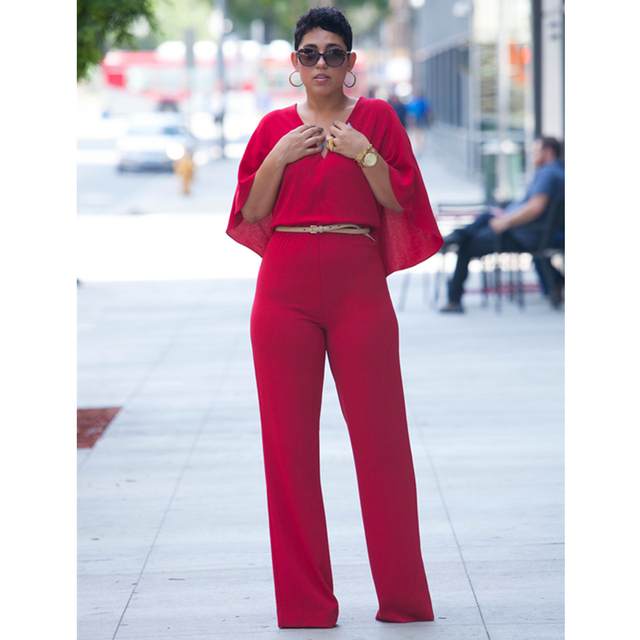 471fe9abacd0 Fashion Mature Lady S-XL Plain Dyed Sleeves Sexy Cloak Design Solid Red  Spandex One-piece Regular Jumpsuit L55162