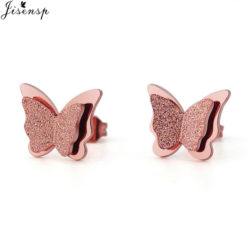Jisensp New CZ Butterfly Earrings Rose Gold Color Stainless Steel Earrings For Women Child Frosted Butterfly Cartilage Ear Studs