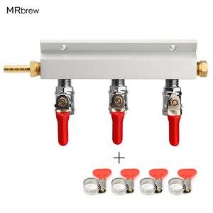 Image 1 - 3 웨이 CO2 가스 분배 블록 매니 폴드 스플리터 (7mm 호스 바브 포함) 홈 양조 밸브 초안 맥주 분배 케그 (4 클램프 포함)