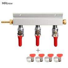 3 דרך CO2 גז הפצה בלוק סעפת ספליטר עם 7mm צינור עקיצות בית מתבשל שסתומים טיוטת בירה לוותר חבית עם 4 מלחציים