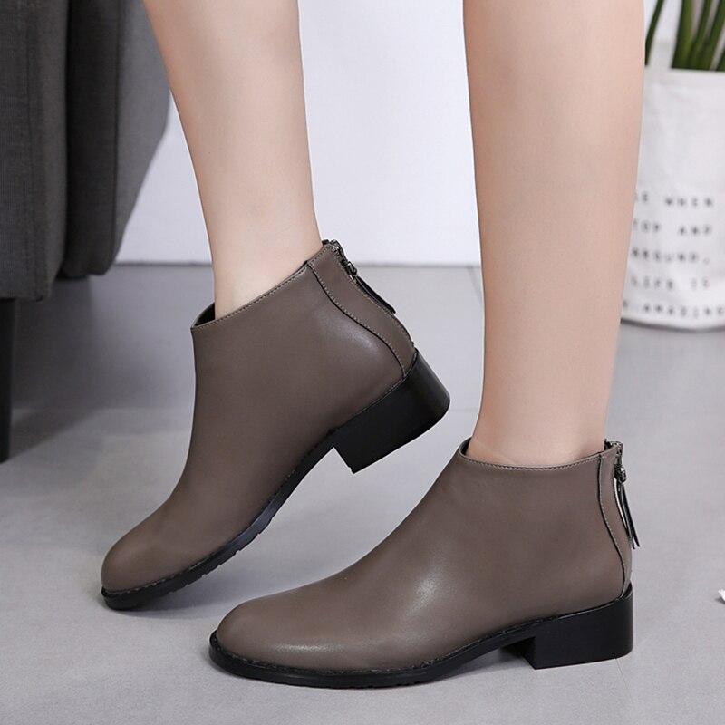 Mujer Zapatos Negro Señoras Cuero Shoes Shoes Las Tacones gray Botas Gruesos Black De Ocasionales Gdgydh Tobillo Cremallera Mujeres Otoño Primavera Chelsea 2018 Ep5wvv