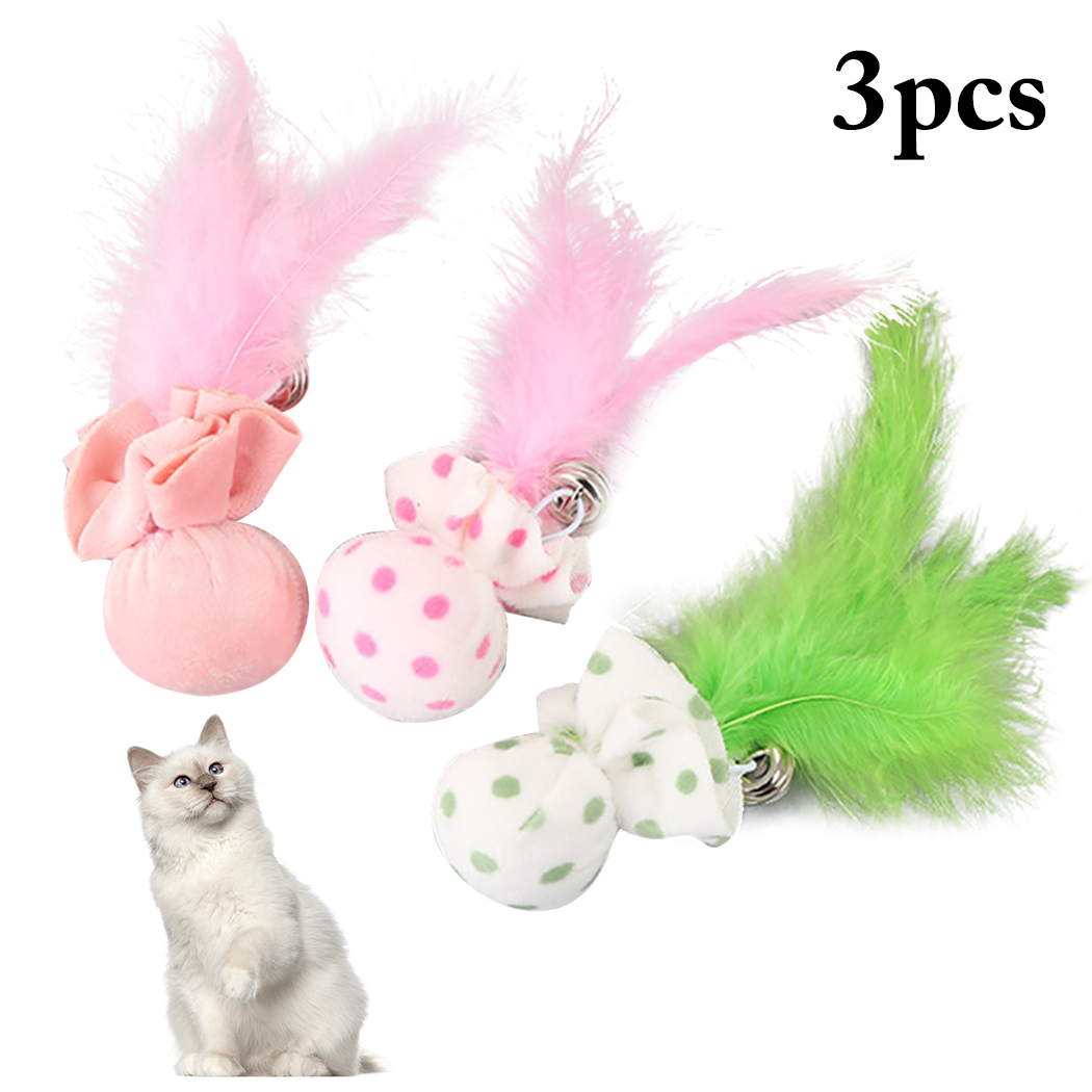 3PCS Pet Toy Plush Ball With Feather Bells Cat Creative Cute Cartoon Bell Teaser Chew Supplies