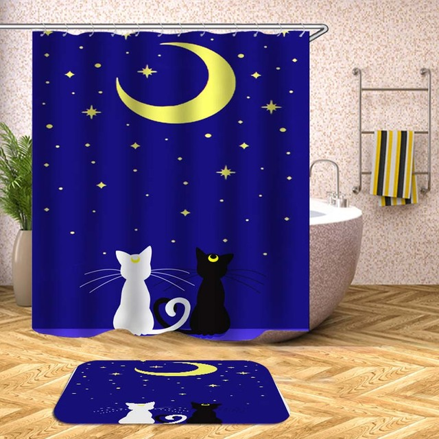 Cartoon Shower Curtain Animals Cat Bear Waterproof Bath Curtains For Bathroom Bathtub Bathing Cover Extra Large Wide 12pcs Hooks