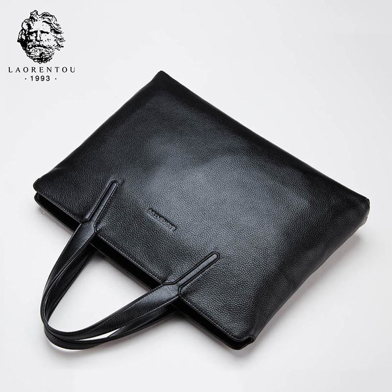 LAORENTOU Men Business Briefcase Genuine Leather Handbag / Laptop Bag Top Quality Real Leather Briefcases