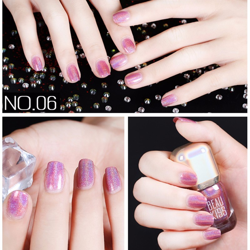 BK Brand Shine Diamond Holographic Stamping Nail Polish Long Lasting ...