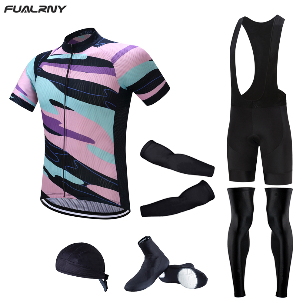 FUALRNY Cycling Jersey Sets Short Sleeve Men's Cycling Clothing Bicycle Wear Abbigliamento Ciclismo 2017 Ropa Ciclismo 6pcs set pirate skull cycling clothing cycling wear cycling jersey short sleeve clothing