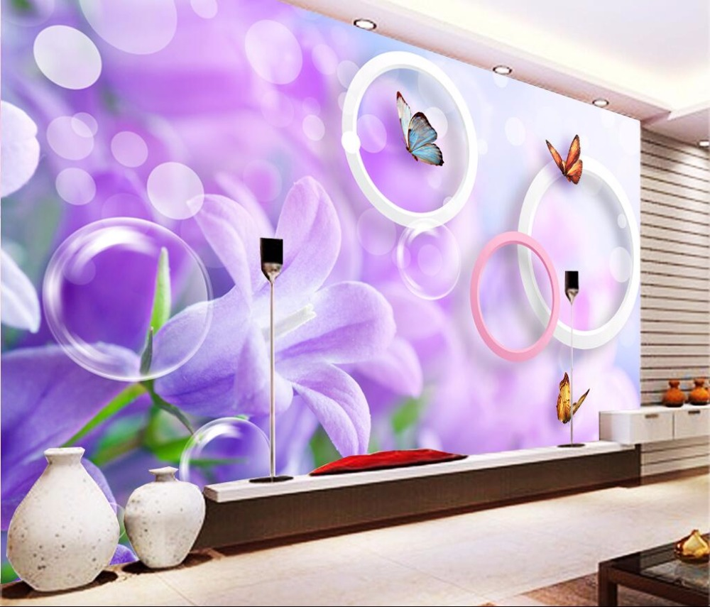 3d room photo wallpaper custom mural Purple flowers butterfly decoration painting 3d wall murals wallpaper for walls 3 d custom photo 3d ceiling murals wall paper blue sky rose flower dove room decor painting 3d wall murals wallpaper for walls 3 d