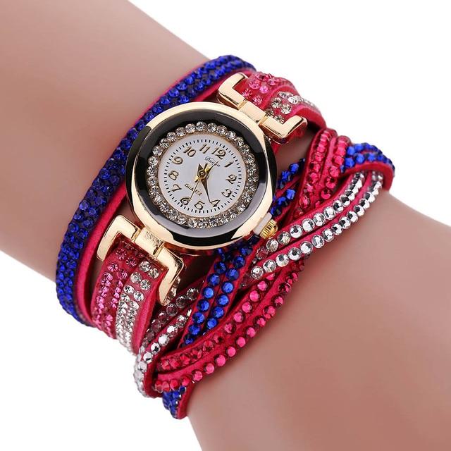 Fashion Women's Watch Winding Crystal Wrap Bracelet Watches Female Clock Analog