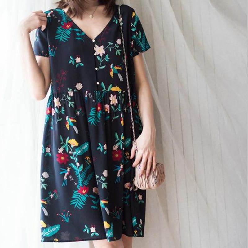 100% silk floral print short sleeve women summer loose sweet dress with buttons