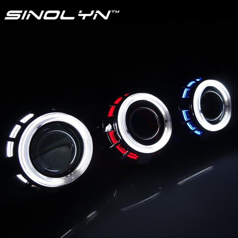 Sinolyn 2,5 ''CCFL двойной Ангельские глазки Halo линзы для фары HID Биксеноновая проектор H1 H4 H7 9005 9006 стайлинга автомобилей