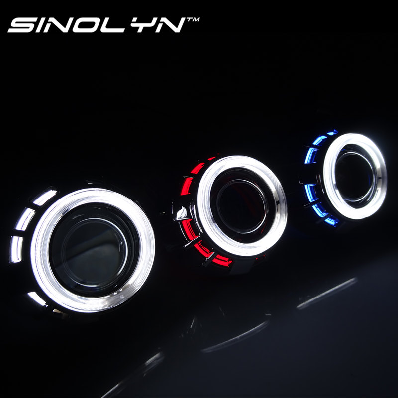 Sinolyn 2.5 CCFL Double Dual Angel Eyes Halo Lenses For the Headlights HID Bi-xenon Projector H1 H4 H7 9005 9006 Car Styling ...