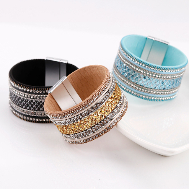 all three colors of crystal bracelet for store product showcase
