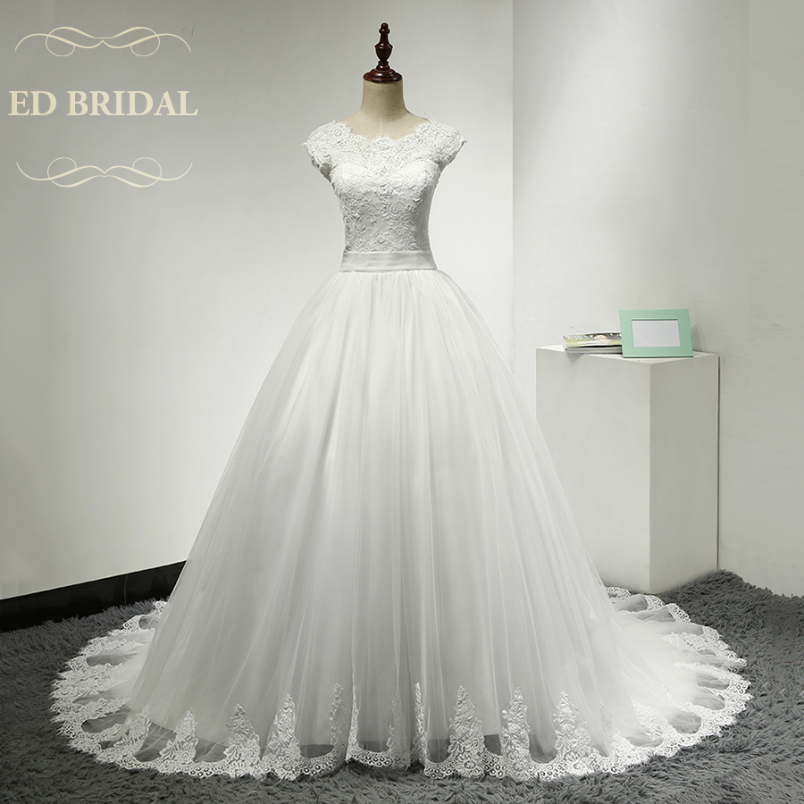 Drei Viertel Langen Ärmeln Spitze Hochzeitskleid A linie Schößchen ...