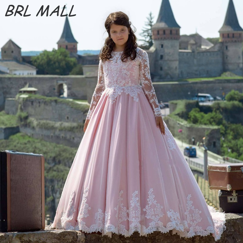 Lovely Pink   Flower     Girl     Dresses   with Long Sleeves Kids Ball Gown Lace Apploques   girls   pageant   dresses   vestido daminha