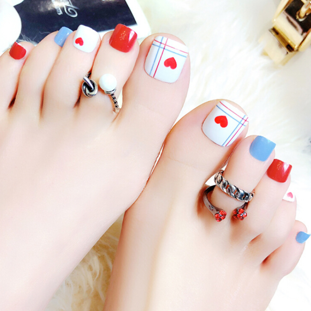 24pcs Red Heart Artificial Summer Toes Finished Fake Nails, Full ...