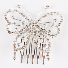 1pcs Elegant Butterfly Rhinestone Comb Clip Wedding Bridal Headwear Accessories Tiara Hair Jewelry Headwear 0030