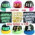 Personalizado Hiphop acrílico 3D cartas Atornilladas picos remaches personalizados snapback sombreros de moda al por mayor de la Gorra de Béisbol Ajustable