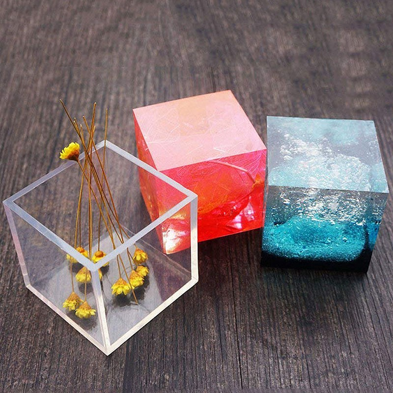1PC A+ Quality 6 Size 20/25/35/40/50/60mm Mould Transparent Silicone Square Mold Epoxy Resin Molds For DIY Jewelry Making Tools