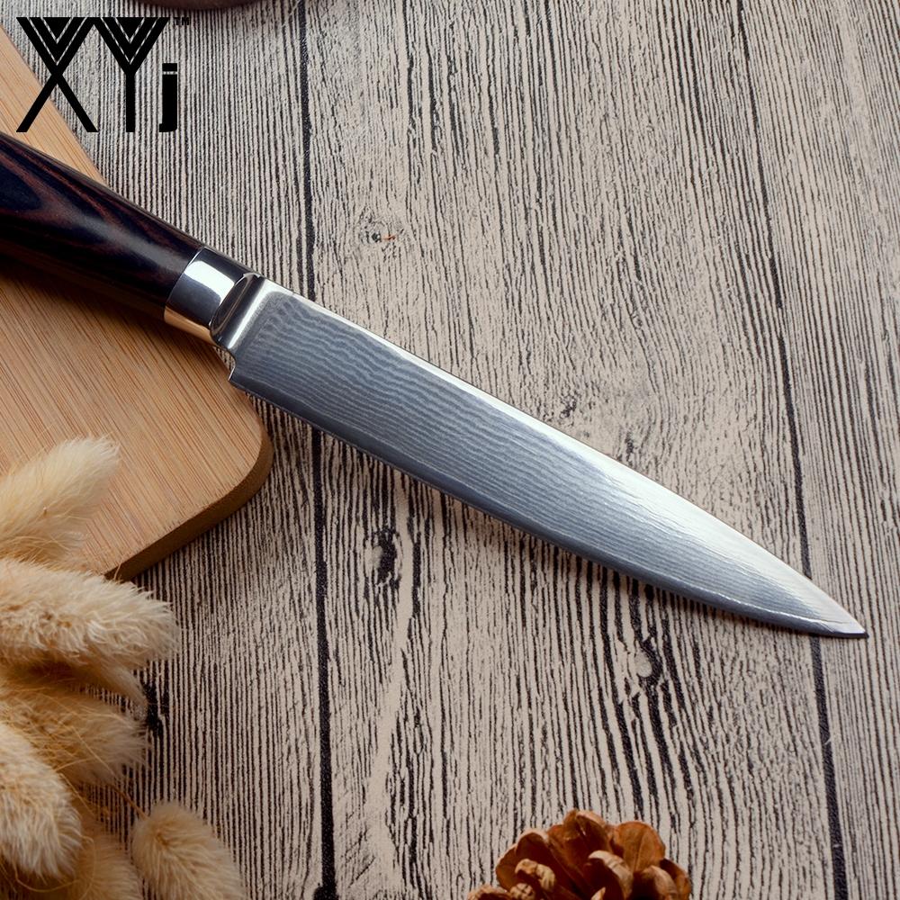 XYj New Arrival 2018 Damascus Knife Set VG10 Damascus Steel Color Wood Handle Knife Damascus Pattern Kitchen Accessories