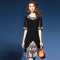 2019 summer new women dresses embroidery flower black chiffon lady elegant party dresses top quality