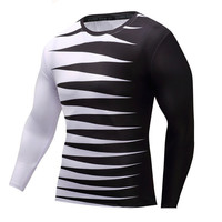 Mens Fashion T-shirt Striped Tees Long sleeve Compression Clothing Flexible Slim Fit Colorful Streetwear Fitness Jersey T shirts