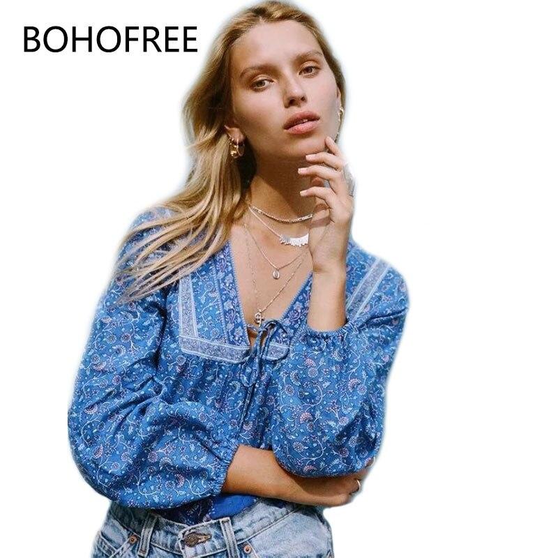 BOHOFREE Automne Tops Boho Chic Mode Floral Blusas Femme Col V À Manches Longues Blusas Mujer Pulls Mock Tops Femmes Gpysy tops