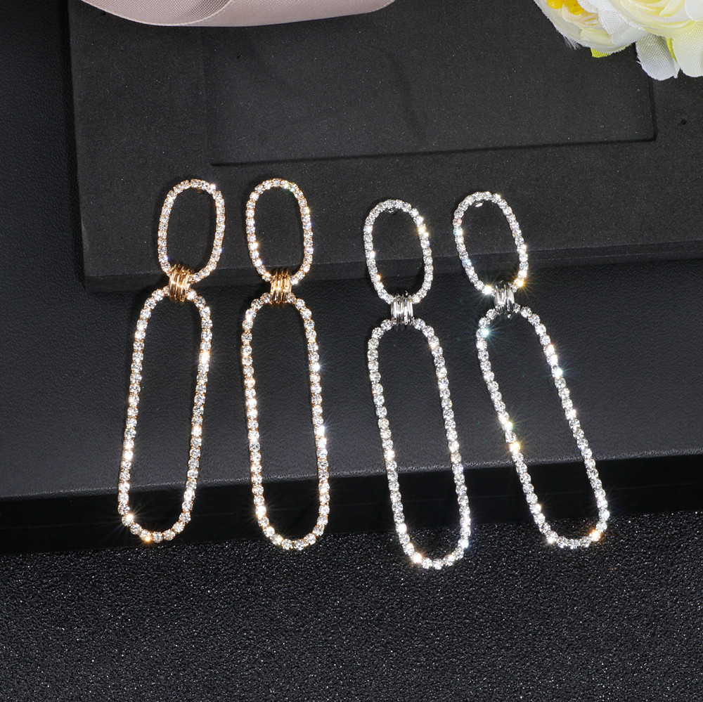 Sparkling Square Geometric Crystal Drop Earring Trendy Personality Simple Style Long Earrings For Women Jewelery Wholesale WX108