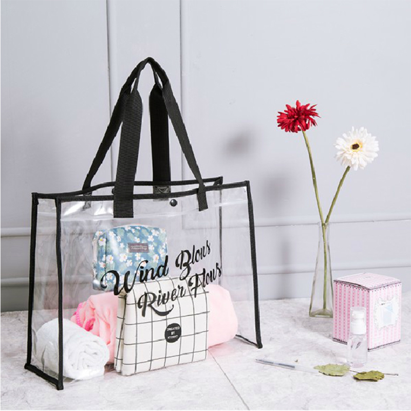 Women PVC Transparent Beach Handbags Large Capacity Female Top-Shoulder Bag Letter Printing Travel Portable Casual Totes Seaside