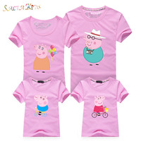 1Pc 2017New Family Matching Outfits Summer T Shirt Clothes Family Look Cotton Peppa Pig Family 16Colors