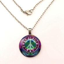 YSDLJG Peace Symbol Cabochon Charm Pendant Necklace Jewelry Birthday Wedding Gift Round