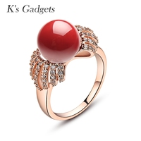 KCALOE Classic Anillos Mujer Bague Wedding Rings Red Artificial Coral Stone Crystal Rhinestone Rose Gold And