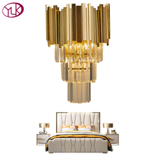 Youlaike Gold Modern Wall Sconce Light Crystal Luxury Creative Warm Hallway Bedroom Bedside Lamp