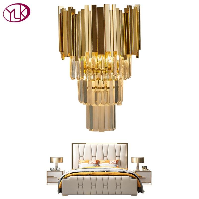 Youlaike Or Moderne Applique Murale En Cristal de Lumière Mur De Luxe Creative Chaud Couloir Chambre Lampe De Chevet