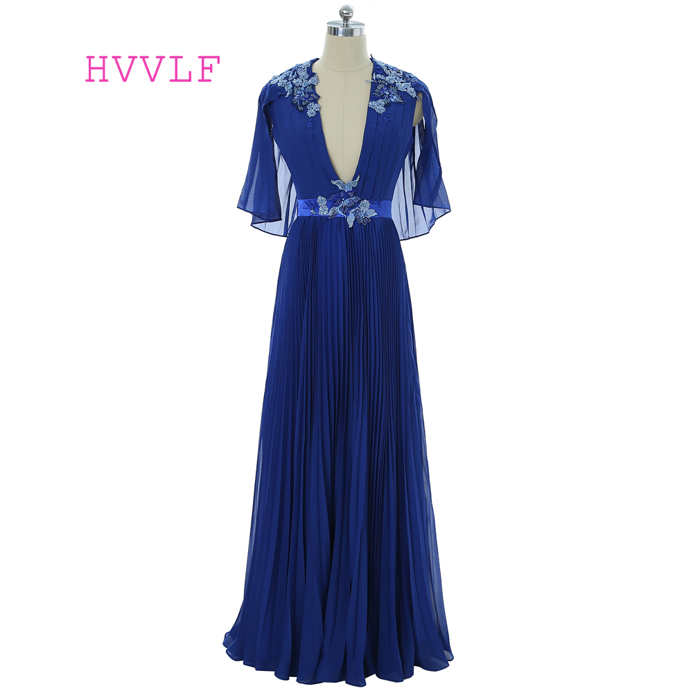 Royal Blue   Evening     Dresses   2019 A-line Deep V-neck Chiffon Pearls Lace Robe De Soiree Women Long   Evening   Gown Prom   Dress