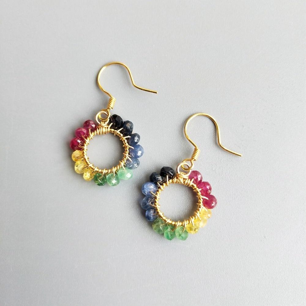 Lii Ji Natural Multi Gemstone Sapphire Ruby Emerald Circle 925 Sterling Silver Handmade Earrings Delicate Jewelry For Women Gift