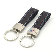 Car styling Leather Belt Chrome Keyring Key Chain For BMW M