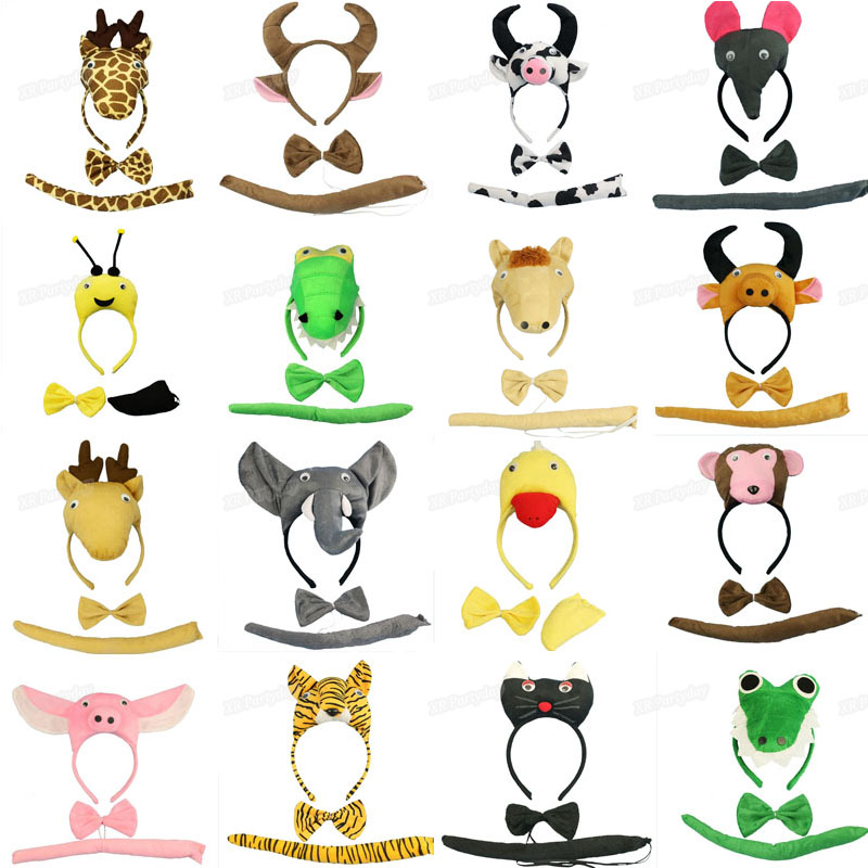 Make up Animal Head Headband Ženske Otroški dodatki za lase Obleka za lase Cartoon Tiger Giraffe Milk Pig Cat Cosplay Kostum