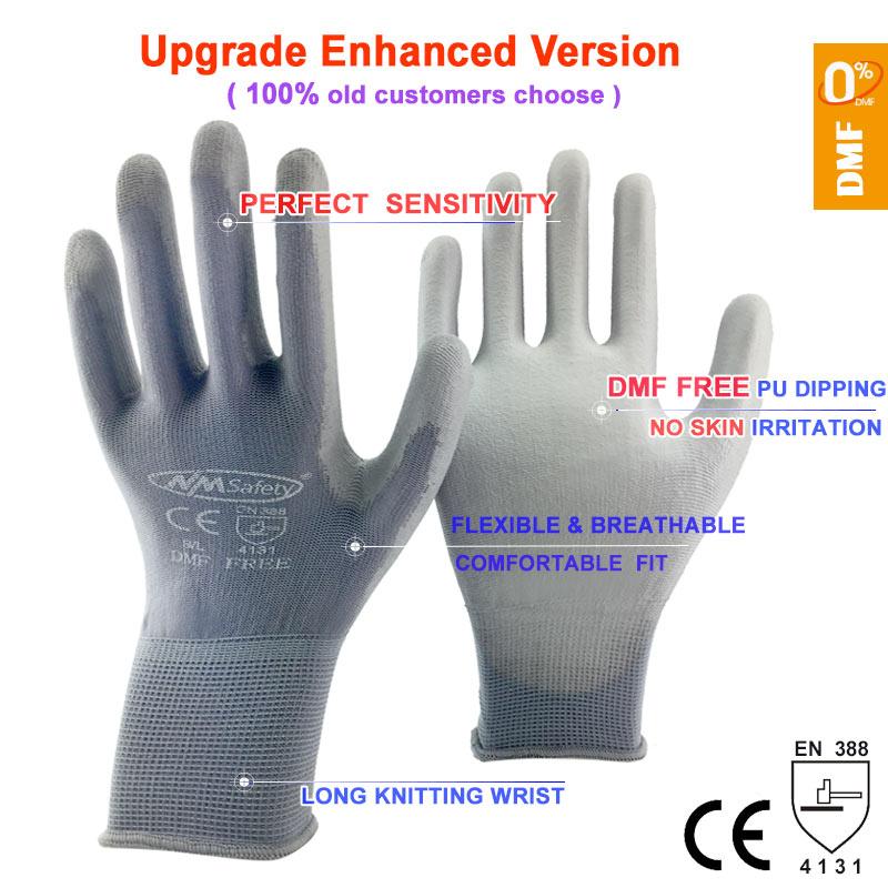 Image 3 - NMSafety 12 זוגות כפפות עבודת PU פאלם ציפוי בטיחות כפפהwork glovesgloves for workgloves work -