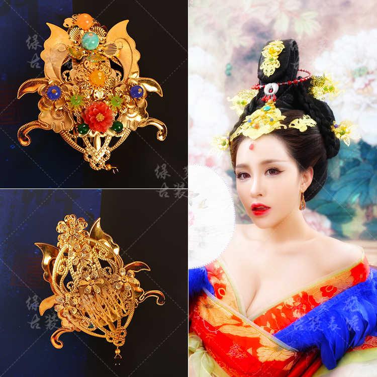 唐皇后ゴージャスなヘアアクセサリーミドルトップ髪櫛黄金の赤い花嫁の結婚式の髪櫛韓服アクセサリー