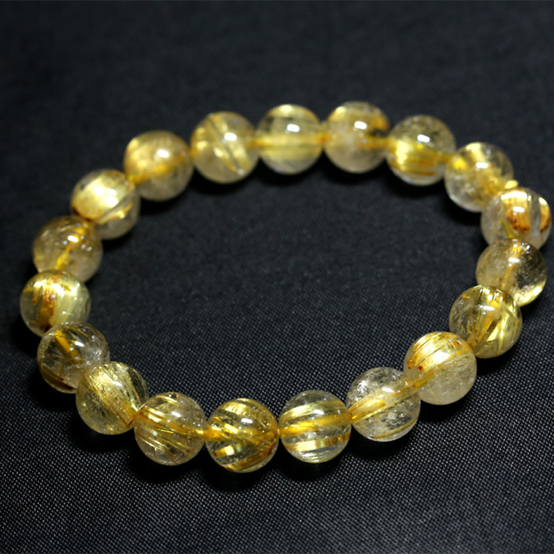 Natural Genuine Yellow Titanium Gold Hair Needle Rutile Quartz Rutilated Finished Stretch Bracelet Round Jewelry beads 04198