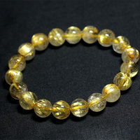 Natural Genuine Yellow Titanium Gold Hair Needle Rutile Quartz Rutilated Finished Stretch Bracelet Round Jewelry beads