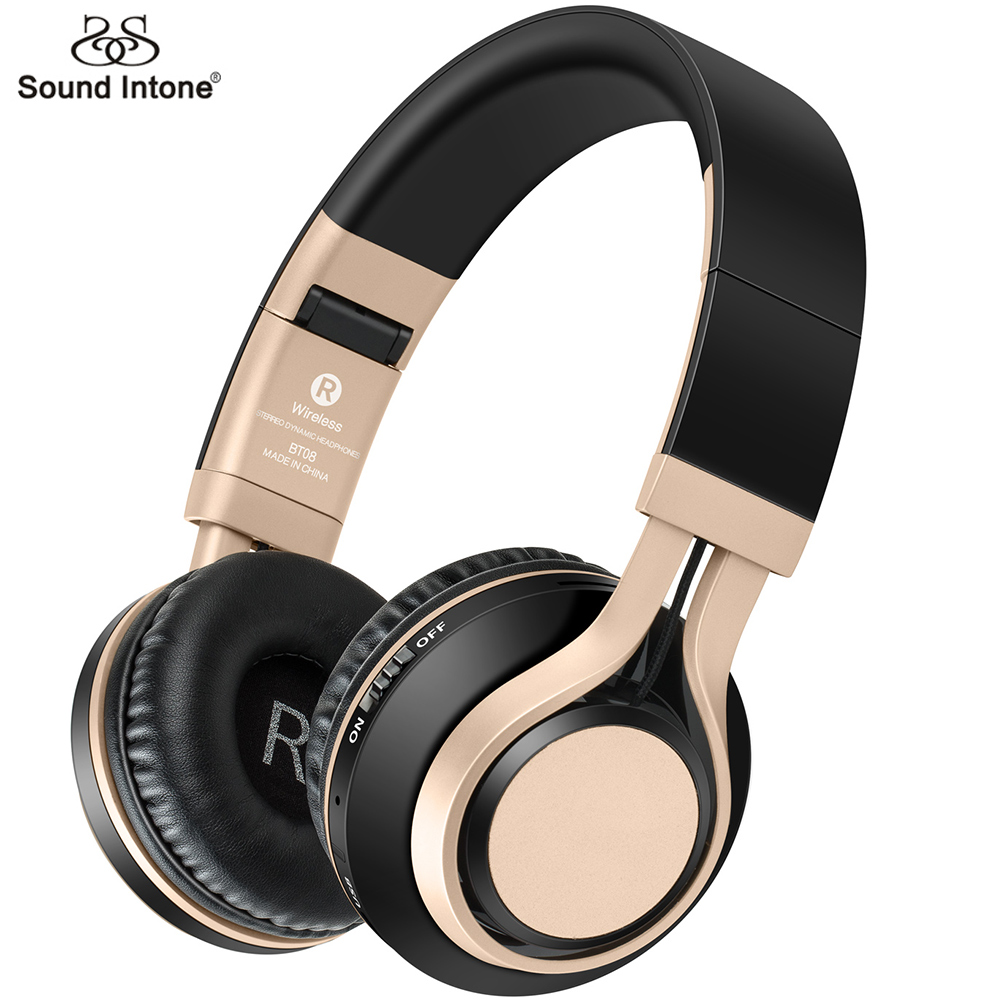 Sound Intone BT08 Bluetooth Headphone Support TF Card FM Wireless Headphones With Mic Bass Gaming Headset For iphone Xiaomi PC aaliyah bass metal foldable headband wireless bluetooth headphone with mic support tf card bluetooth 4 1 headset stereo earphone