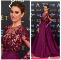 Premios Goya 2015 Zuhair Murad Evening Dress Sheer Crew Neckline Illusion Long sleeve Applique Beaded Crystal Party Dress Gowns
