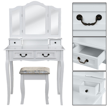 3 Mirrors 4 Drawers Dressing Table Tocador Penteadeira Dresser Home Bedroom Furniture White makeup table with stool schminktisch giantex vanity set makeup dressing table tri folding mirror black stool 4 drawers home furniture hw59006bk
