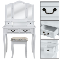 3 Mirrors 4 Drawers Dressing Table Tocador Penteadeira Dresser Home Bedroom Furniture White makeup table with stool schminktisch