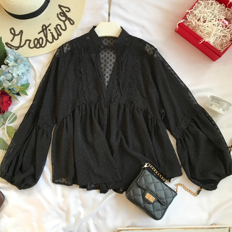 Spring Summer New Korean Loose Sweet Casual Silk Blouse Women's Fashion V Neck Long Sleeve Blouse Tops D359