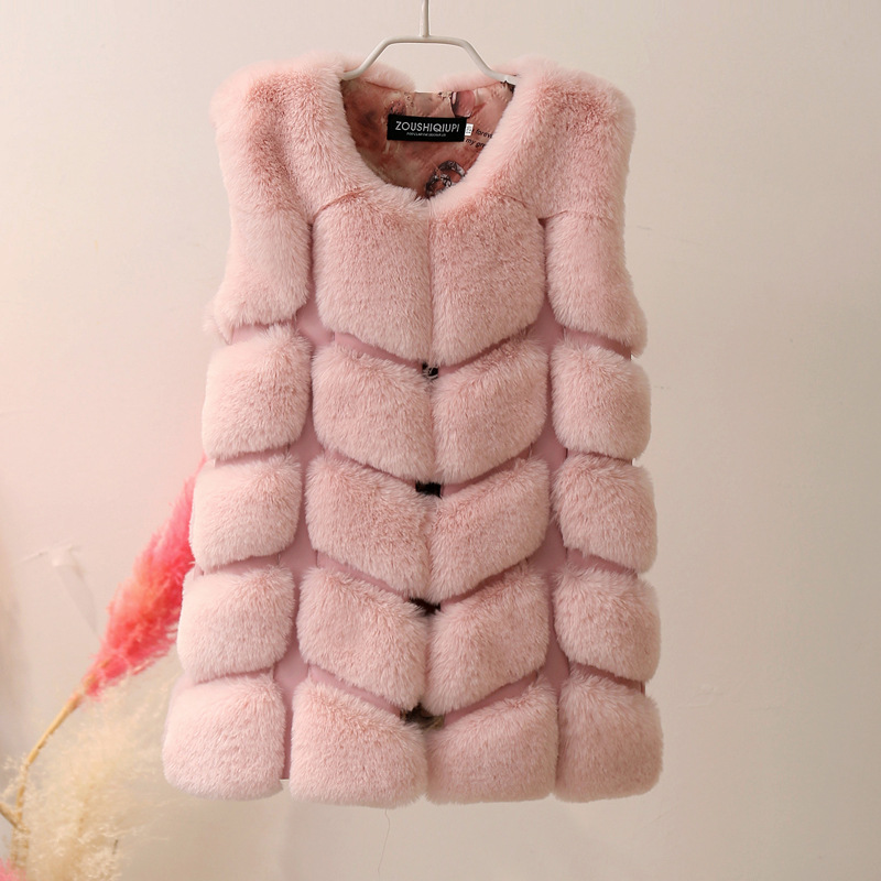 Children Winter Long Faux Fur Vests 2018 New Arrival Girls Faux Rabbit Fur Waistcoat Kids Faux Rabbit Fur Outerwear and Vests pearl beading faux fur pocket ribbed dress page 6