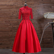 Tanpell Red Cocktail Dress  High Neck Appliques Beading Half Sleeves Zipper upWoman Party Gown Tea-Length