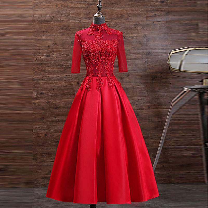 Tanpell Red   Cocktail     Dress   High Neck Appliques Beading Half Sleeves Zipper upWoman Party Gown Tea-Length   Cocktail     Dress